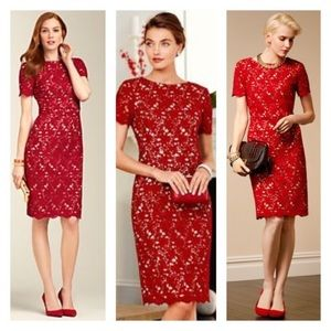 Talbots Red Lace Floral Overlay Sheath Dress